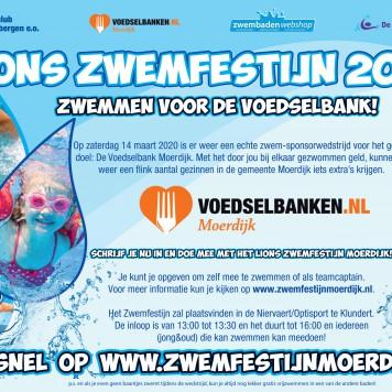 Op zaterdag 14 maart 2020 organiseert Lionsclub Zevenbergen voor de derde keer het jaarlijkse 'Lions Zwemfestijn Moerdijk'